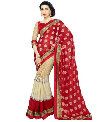 red and cream embroidered georgette sareem with blouse