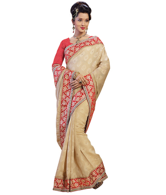 Beige printed Jacquard saree with blouse