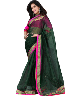 Green embroidered Banarasi saree with blouse