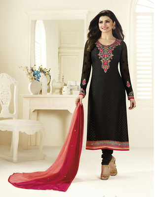 Black embroidered Brasso semi stitched salwar with dupatta