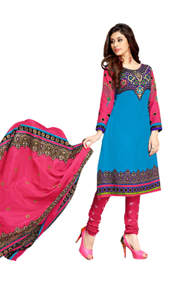 Sky Blue printed Cotton unstitched salwar with dupatta