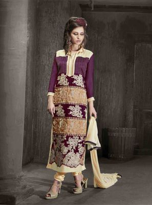 Violet Georgette embroidered semi stitched salwar with dupatta