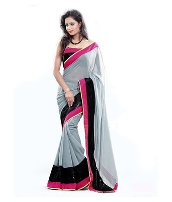 Grey plain georgette saree with blouse