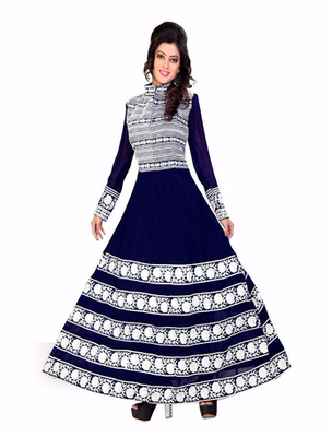 Navy blue georgette embroderied semi stitched salwar with dupatta