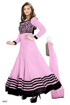 light pink net embroidered semi stitched salwar with dupatta
