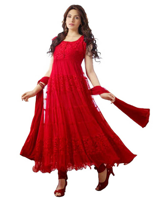 red net hand woven semi stitched salwar with dupatta