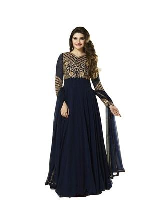 dark blue Embroidery & Stone & patch patta work georgette semi_stitched salwar