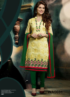 Yellow embroidered Chanderi and cotton semi stitched salwar with dupatta