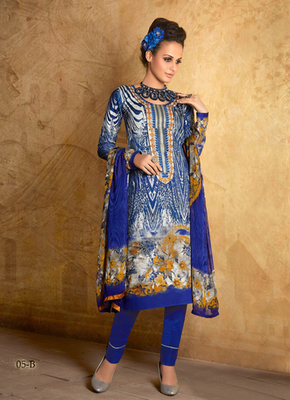 multicolor printed cotton semi stitched salwar with dupatta