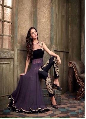 Dark purple georgette and net embroidered unstitched salwar with dupatta