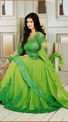 Green soft net embroidered unstitched salwar with dupatta