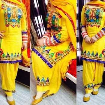 Yellow cottan embroidered unstitched salwar with dupatta