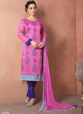 Pink embroidered Chanderi and cotton semi stitched salwar with dupatta