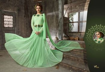 Green net embroidered unstitched salwar with dupatta