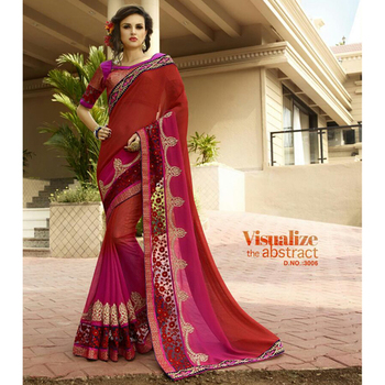 Red and Maroon embroidered georgette sare with blouse