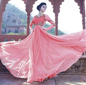 Pink Georgette  and  Net  embroidered semi stitched salwar with dupatta