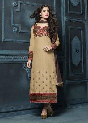 beige embroidered cotton semi stitched salwar with dupatta