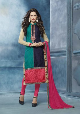 multicolor embroidered cotton semi stitched salwar with dupatta