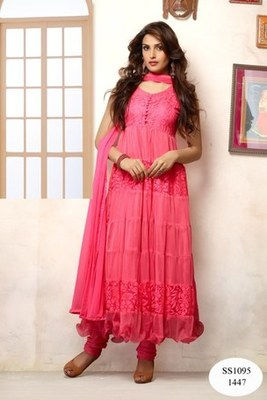Pink net embroidered unstitched salwar with dupatta