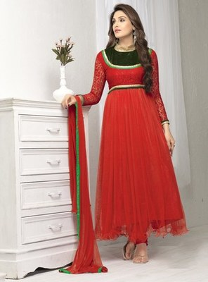 Red net embroidered unstitched salwar with dupatta