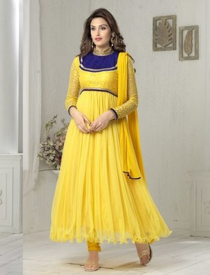 Yellow net embroidered unstitched salwar with dupatta