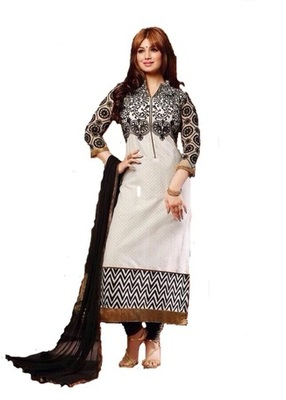 White georgette embroidered unstitched salwar with dupatta