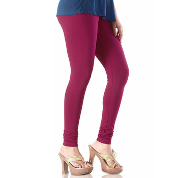 Maroon plain 4-Way Lycra Cotton leggings