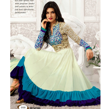 Off White embroidered georgette semi stitched salwar with dupatta