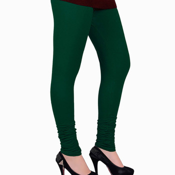 Green plain 4-Way Lycra Cotton leggings