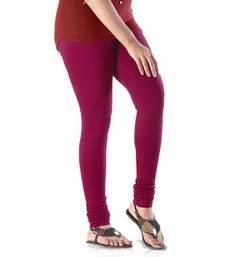 Buy Maroon plain 4-Way Lycra Cotton leggings ethnic-bottom online