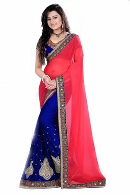 Red and Blue Embroidered georgette chiffon saree with blouse