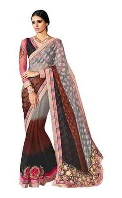 multicolor plain georgette saree with blouse