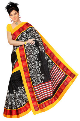 yellow and black printed art silk saree with blouse