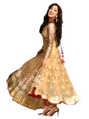 Cream Net embroidered semi stitched salwar with dupatta