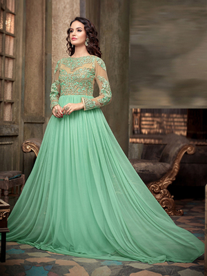 Green Net embroidered semi stitched salwar with dupatta