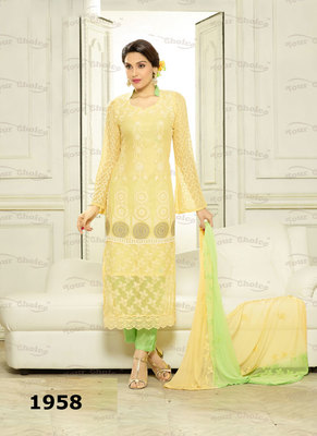 Green, Yellow Embroidered Pure Chiffon unstitched salwar with dupatta