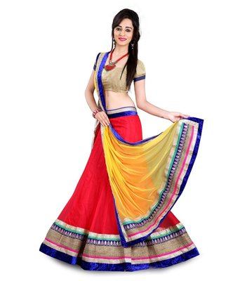 Multicolour Embroidered Designer Net Lehenga with Blouse