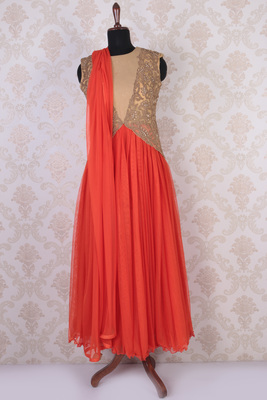 Orange and gold net and shimmer sleeveless discerning anarkali with high neck