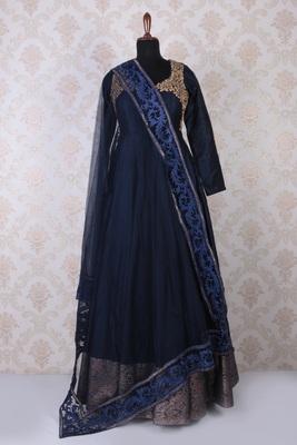 Navy blue raw silk embroidered pretty anarkali with diamond neck