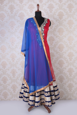 Red multicoloured net embroidered dashing anarkali with leaf neck