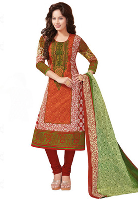 Orange and Green printed Cotton unstitched salwar with dupatta