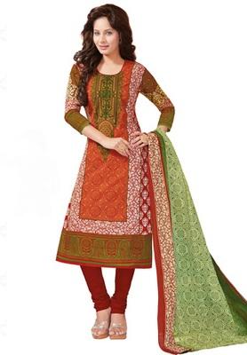 Orange and Green printed Cotton unstitched salwar with dupatta