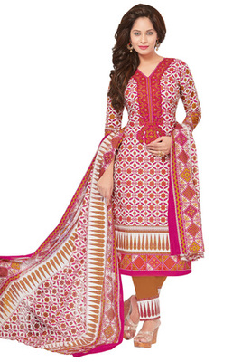 Mustard and Pink and White printed Cotton unstitched salwar with dupatta