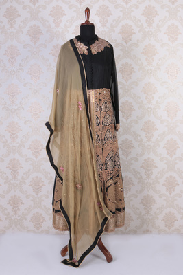Black and gold raw silk embroidered wonderful anarkali with mandarin collar