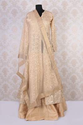 Beige and gold net magnetic embroidered long jacket anarkali with round neck