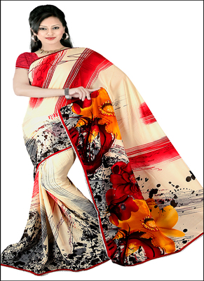 White  printed rayon saree with blouse