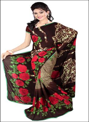 Brown printed rayon saree with blouse