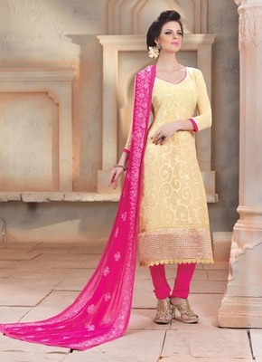 Cream embroidered Chiffon unstitched salwar with dupatta