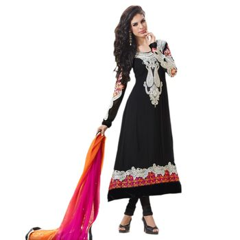 Hypnotex Pure Georgette Black Color Designer Dress Material Shayari104