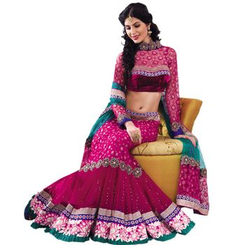 Hypnotex Net and Jacquard net Pink Color Designer Dress Material Diwali9406